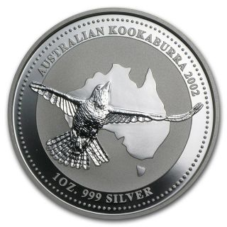 2002 Australia Kookaburra 1 Oz.  Silver Coin - Bu Direct From Perth photo