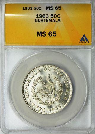 1963 Guatemala 50 Centavos Anacs Ms 65 - Coin - photo