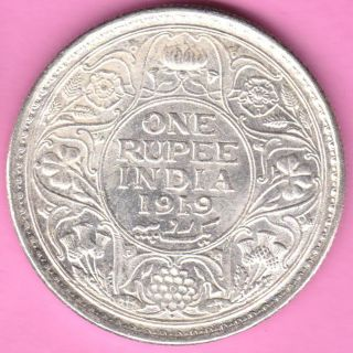 British India - 1919 - King George V - One Rupee - Rarest Silver Coin - 60 photo