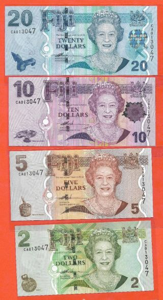 Fiji 2,  5,  10&20 Dollar Qeii,  Match Serial Num.  Unc Paper Banknote photo