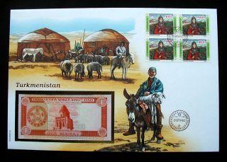 1992 Turkmenistan Unc Banknote 1 Bir Manat On Cover & Stamps photo