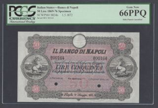 Italy,  Banco Di Napoli 50 Lire,  1 - 5 - 1872 Ps834s Specimen Uncirculated photo