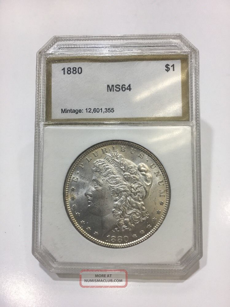 1880 Pci Certified Morgan 1 Silver One Dollar Coin