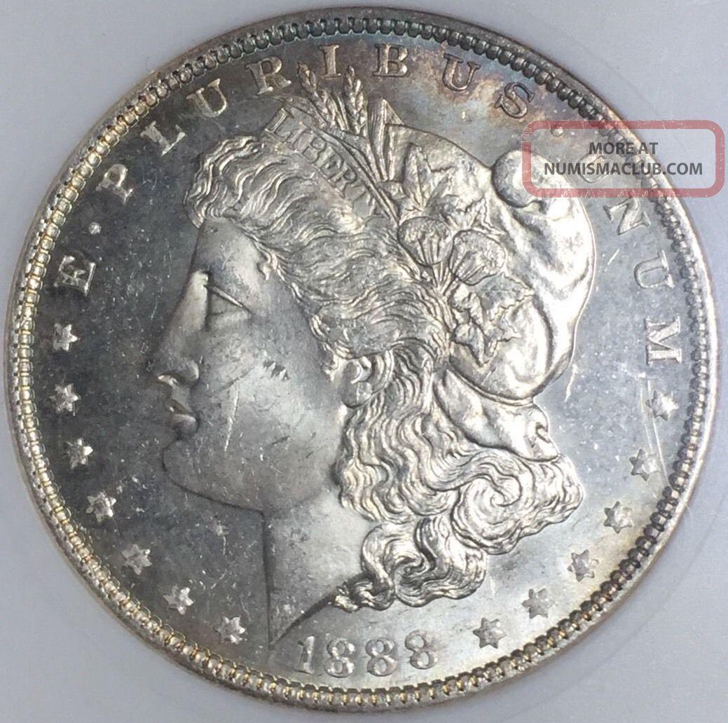1888 - P $1 Morgan Silver Dollar (anacs Ms63dmpl) Gm16728 Dollars photo