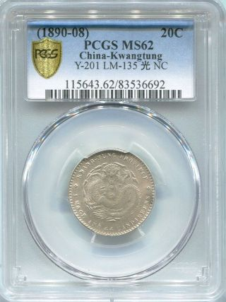 China Kwangtung 20 Cent 1890 - 1908 Pcgs Ms 62 photo