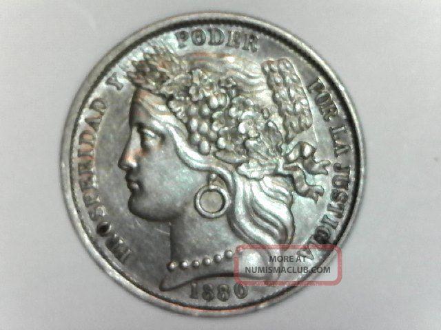 1880 Peru Una Peseta.  900 Silver Km 200.  1 Peru photo