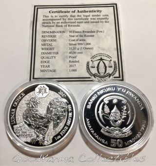 2017 Proof Rwanda Lunar Rooster 1oz Silver 999 Coin - Only 1k Minted photo
