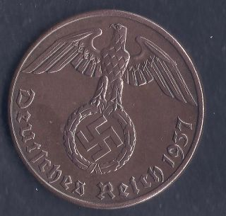 Nazi Germany Third Reich 1937 A 2 Rpf Nazi Swastika Coin Ww2 Era Coin photo