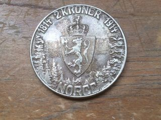 1914 Norway 2 Kroner Silver Coin Crown Constitution Km 377 photo