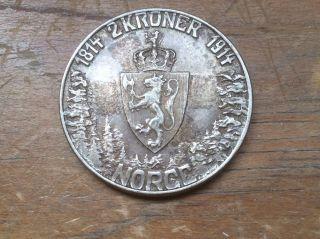 1914 Norway 2 Kroner Silver Coin Crown Constitution Km 377 photo