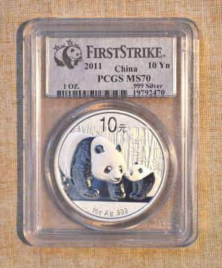 2011 Silver China Panda Coin - 10 Yn - 1 Oz - Pcgs Slabbed - Ms 70 photo