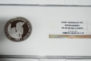 1996 Australia S$2 Kookaburra Ngc Pf69 Silver Proof photo