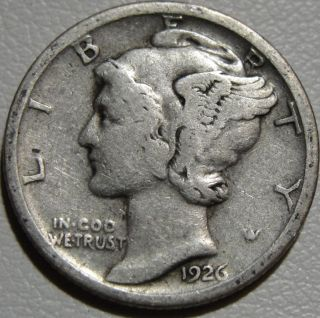 1926 - S 10c Mercury Dime,  Winged Liberty Dime,  90 Silver,  1002 photo