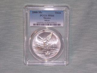 Rare 2000 - Mo Pcgs Ms66 1onza Mexico Silver Libertad