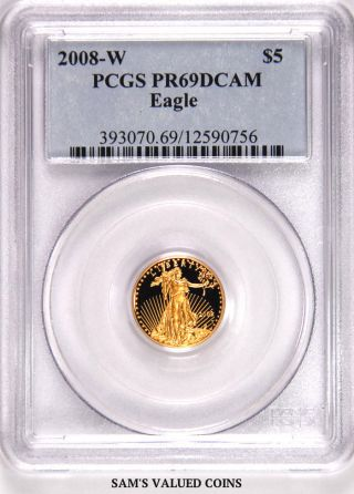 2008 - W American Gold Proof Eagle $5 Pcgs Pr69dcam - 1/10 Oz Gold photo