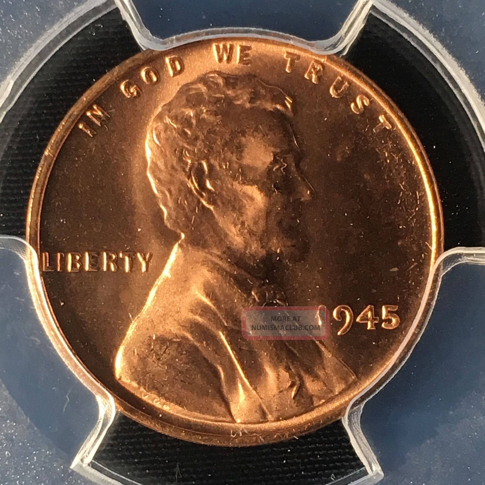 1945 1c Rd Lincoln Wheat One Cent Pcgs Ms65rd 33314712 Small Cents photo