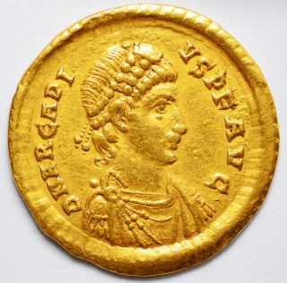 Emperor Arcadius Gold Solidus - Minted 388 - 402 A.  D.  - Constantinople photo