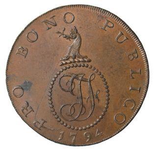 1794 Great Britain Suffolk Haverhill Halfpenny Conder Token D&h - 31 photo