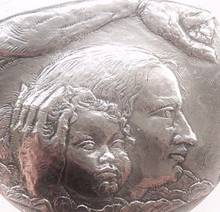 Mother Protecting Child - Social Providence - Large Antique Art Medal By D Ledel photo