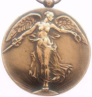 Antique Art Nouveau Victory Angel Of Wwi Bronze Art Medal Pendant By Paul Dubois photo
