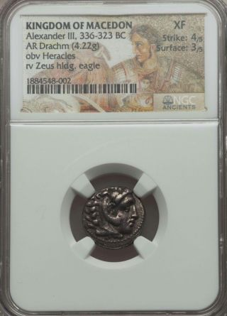Kingdom Of Macedon Alexander Iii Ar Drachm Ngc Xf 4/3 Ancient Silver Coin photo