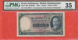 Malaya Singapore 1935 1 Dollar Kg Strait Settlements Pmg35 Paper Banknote photo