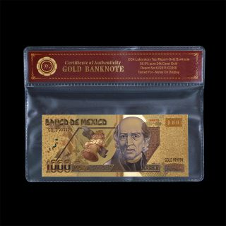 Mexico Gold Banknote 1000 Pesos 24k Gold Plated Note Uncirculated In Pvc Frame photo