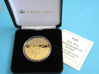 Tristan Da Cuhna - 2014 Gold Plated Silver Proof £5 Crown Coin D - Day Anniversary photo