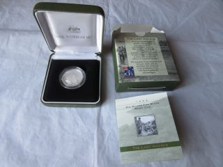 1999 $1 Dollar Silver Proof Coin The Last Anzacs Coa/box Royal Australian photo
