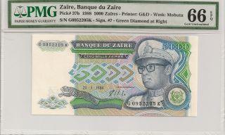 P - 37b 1988 5000 Zaires,  Banque Du Zaire,  Pmg 66epq photo