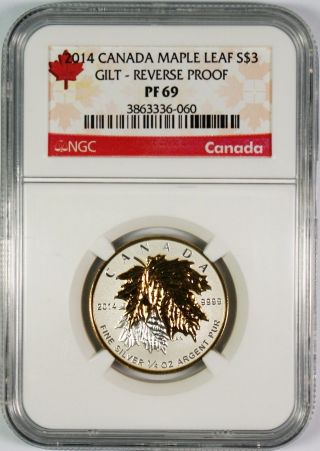 2014 $3 Canada Gilt Reverse Proof 1/4 Oz.  Silver Maple Leaf Ngc Pf69 photo