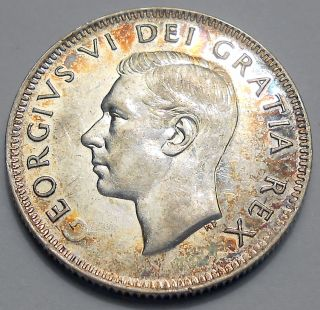 1949 Twenty - Five Cents Aef King George Vi Silver Canada Quarter photo