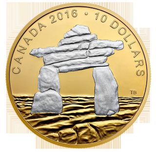 2016 Gold Plated Fine Silver Coin,  Iconic Canada Inukshuk,  In Hand,  No Tax photo