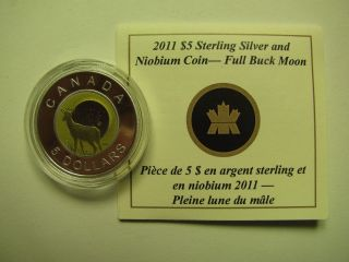 2011 Proof $5 Sky Calendar 1 - Full Buck Moon Canada Silver Niobium Coin&coa Only photo