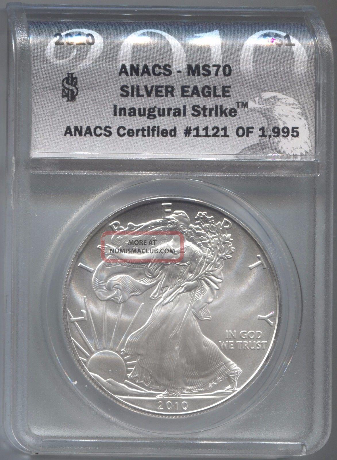 2010 Anacs Ms70 Inaugural Strike 1121 Of 1995 Silver Eagle Silver photo
