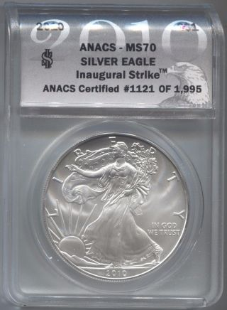 2010 Anacs Ms70 Inaugural Strike 1121 Of 1995 Silver Eagle photo