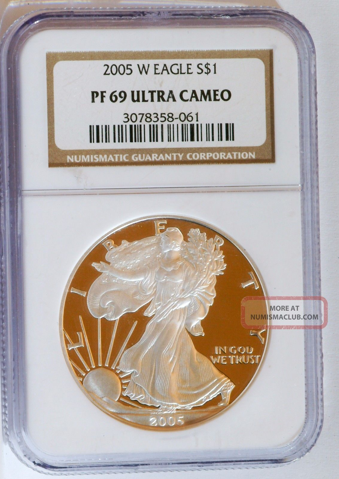 2005 W American Proof Silver Eagle Ngc Pf 69 Ultra Cameo 1 Oz.  999 Silver photo