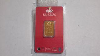 5 Gram Rmc 24k Gold Bar. photo