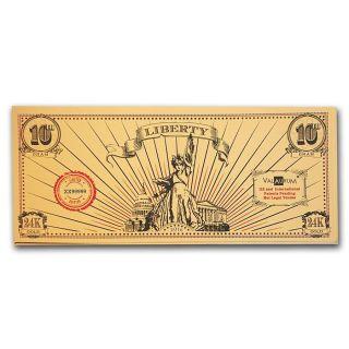 Valaurum Lady Liberty 1/10 Gram 24 K Gold Note 2016 photo