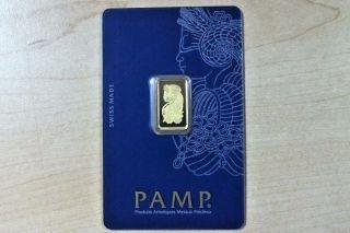 Pamp Suisse - 2.  5 Gram 999.  9 Gold Bar / Case 1072 photo