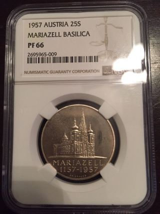 1957 Austria 25 Schilling Proof Ngc Pf66 Low Mintage Of 1,  000 Mariazell Basilica photo
