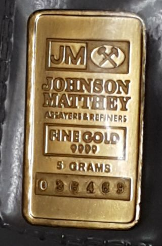 Vintage Johnson Matthey 5 Gram 9999 Gold Bar photo