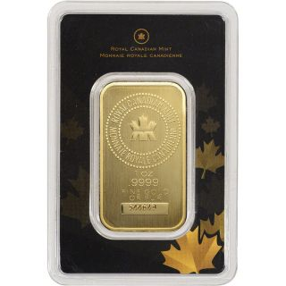 1 Oz.  Gold Bar - Royal Canadian (rcm) -.  9999 Fine In Assay photo