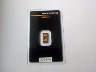 1 Gram Argor Heraus Gold Bar Black Edition Fineness 999,  9 1 Bar photo