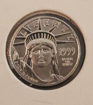1999 $10 Platinum Eagle,  1/10 Ounce.  9995 Platinum Bullion,  Ungraded photo