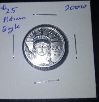 2000 $25 Platinum Eagle,  1/4 Ounce.  9995 Platinum Bullion,  Ungraded photo