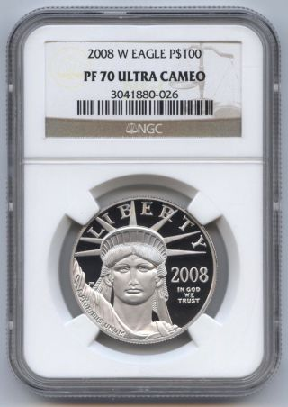 2008 - W 1 Oz.  Proof Platinum Eagle $100 Ngc Pf70 Ultra Cameo,  Statue Of Liberty photo