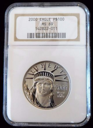 2000 Ngc Ms69 Eagle Platinum P$100 Coin (bc4 - 6/9) photo