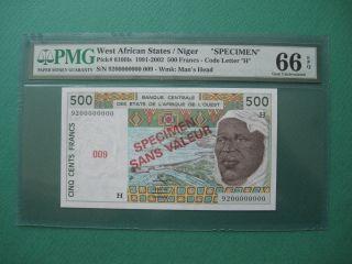 1991 - 2002 West African States / Niger 500 Francs