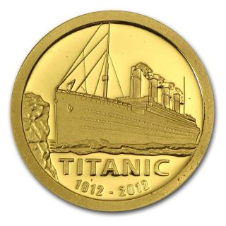 2012 Cook Islands Gold $1 Titanic 100th Anniversary Proof Coin In Wooden Box photo